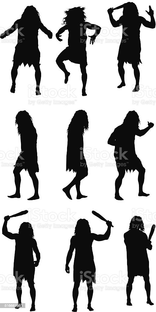 Caveman in different poses vector art illustration