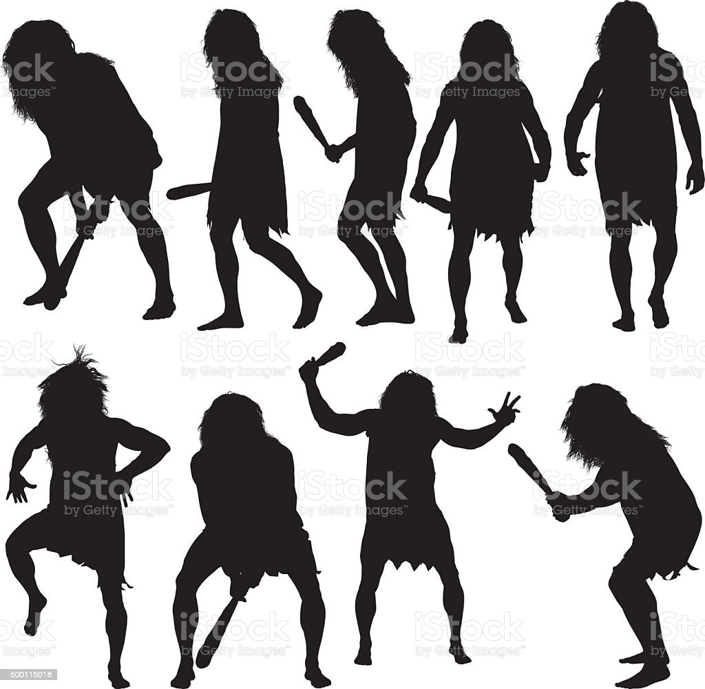 Caveman in various actions vector art illustration
