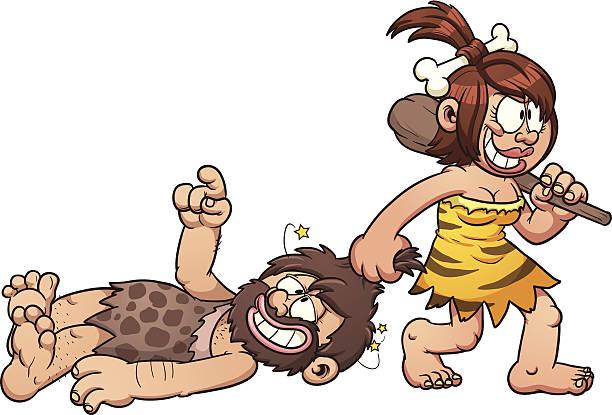 ilustrações de stock, clip art, desenhos animados e ícones de homem das cavernas amor - puxar cabelos