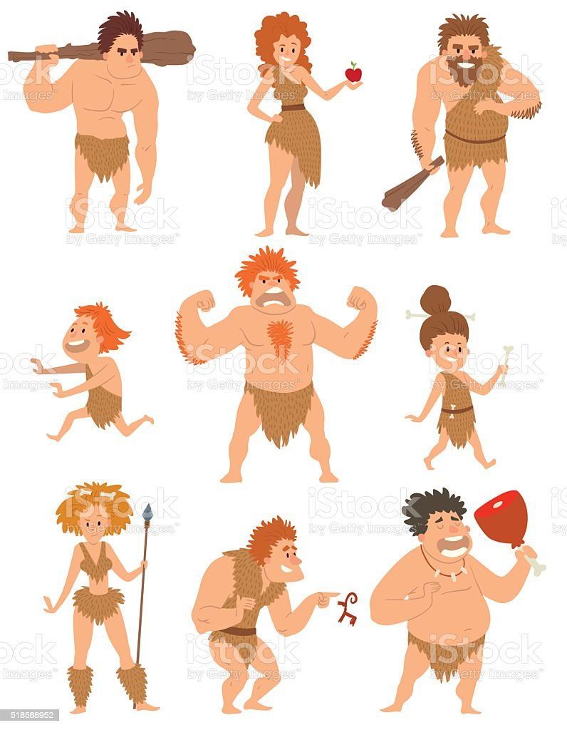 Caveman primitive people cartoon action neanderthal evolution vector vector art illustration