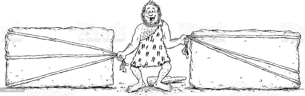 Caveman pulling rocks royalty-free stock vector art