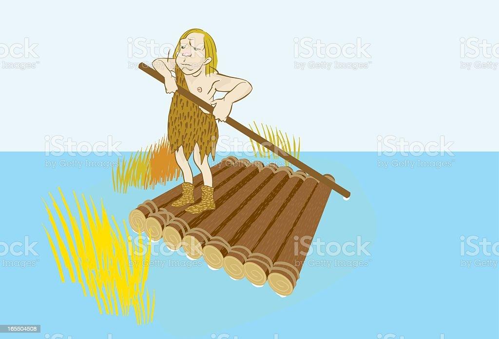 caveman raft vector art illustration