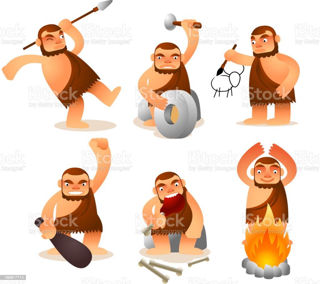 Caveman set vector art illustration