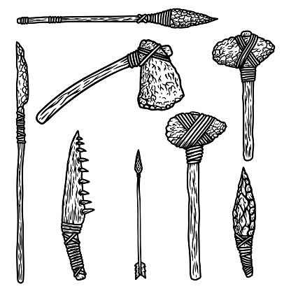 Caveman weapon set. Stone ax, spear, bone knife. Design element for poster, card, banner, sign. Vector illustration