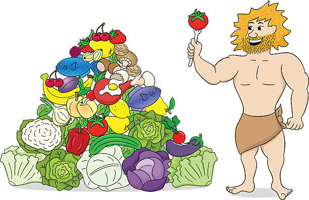 caveman with paleo food pyramid - paleo diet stock illustrations, clip art, cartoons, & icons