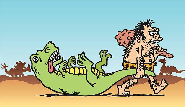 ilustrações de stock, clip art, desenhos animados e ícones de homem das cavernas de captura - puxar cabelos