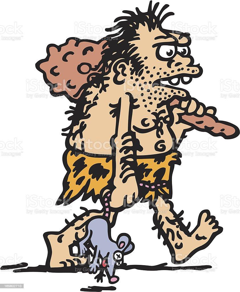 Caveman's Catch vector art illustration