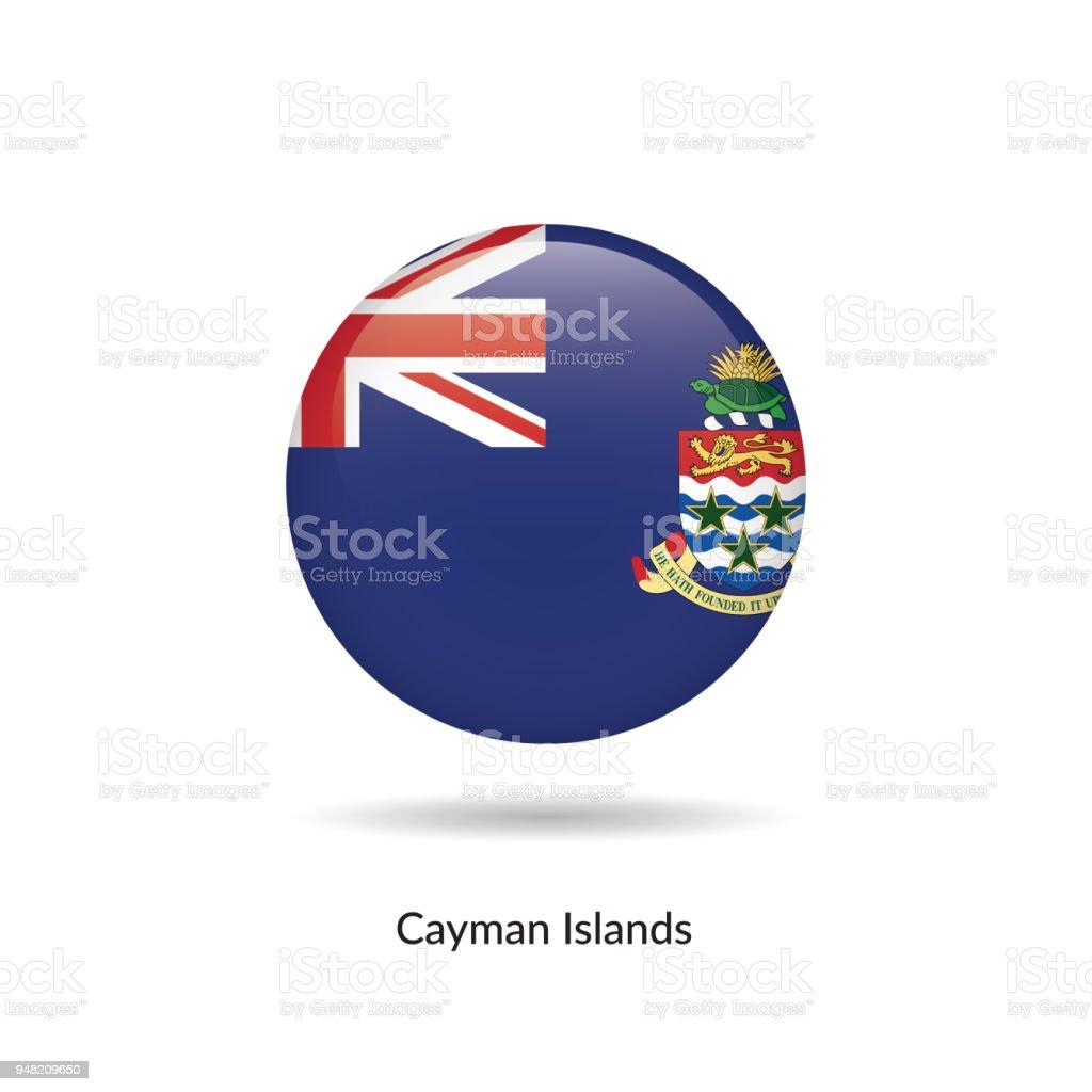 Bandeira da Ilhas Cayman - redondo botão brilhante. - ilustração de arte em vetor