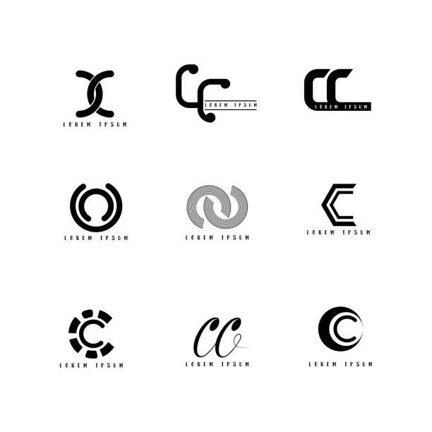 아이콘 벡터, 크리에이 티브 글꼴 설정 디자인 편지 cc. 벡터 아트 일러스트