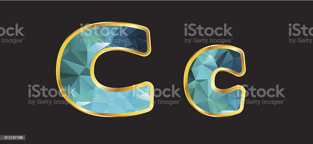 Cc with Gold and Teal vector art illustration