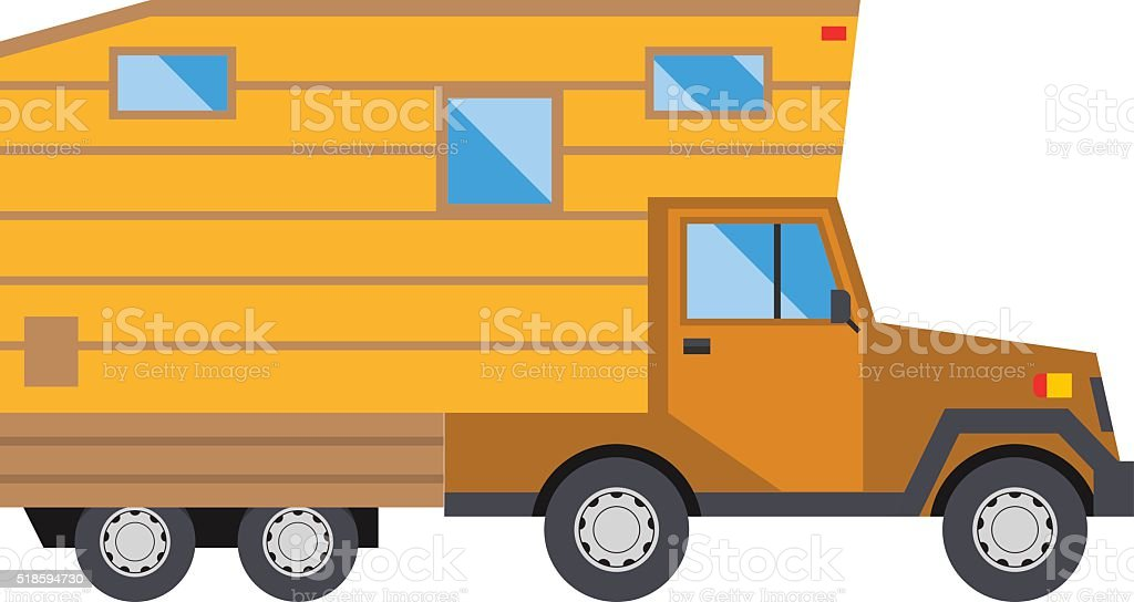 Ccaravan Travel Car Vehicle Trailer House Summer Vacation Vector Royalty Free