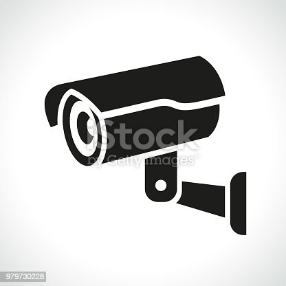 Illustration of cctv camera on white background