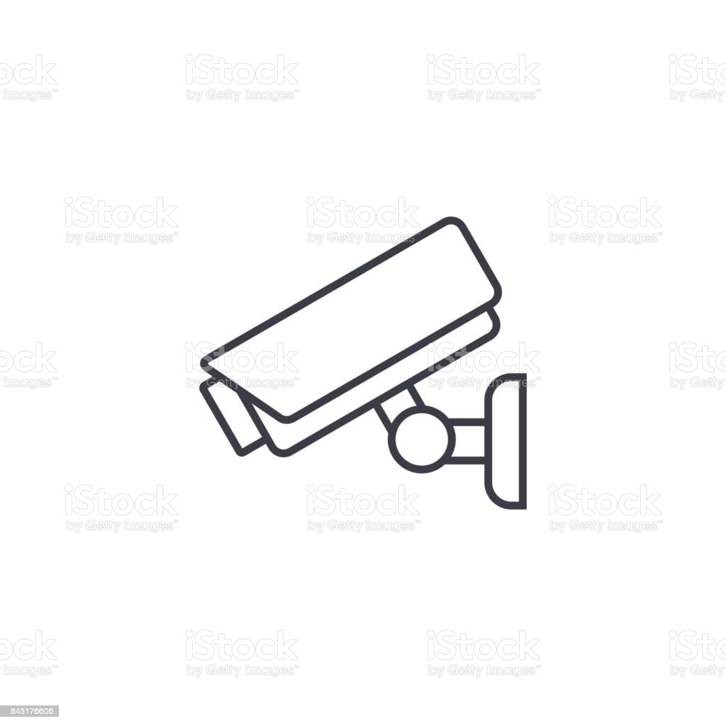 cctv, security digital camera, protection thin line icon. Linear vector symbol vector art illustration