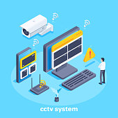 isometric vector image on a blue background, outdoor surveillance camera and viewing devices such as a computer monitor and smartphone, cctv system