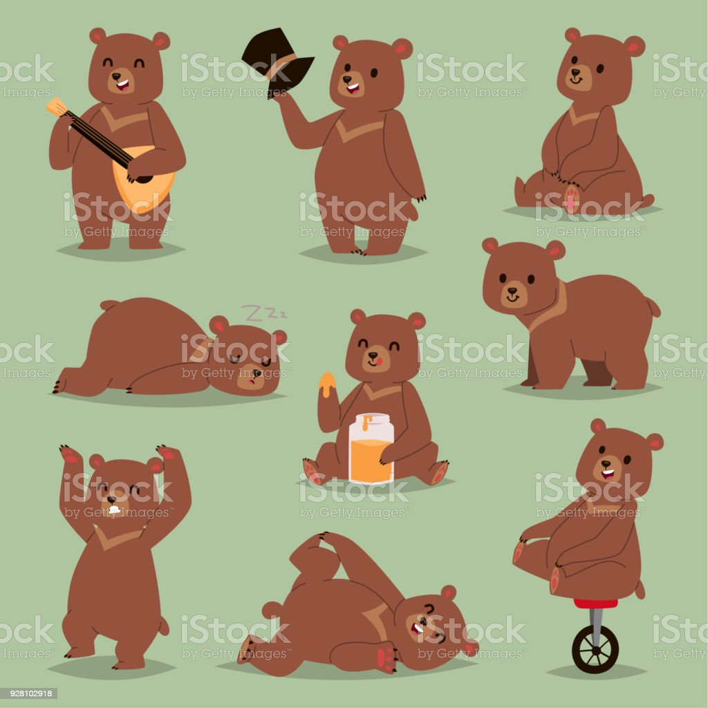 Ccute cartoon vector bear emotions brown character happy smiling bear drawing mammal teddy smile. Cheerful mascot cartoon bear grizzly, young, baby animal zoo with honey, guitare, circus bike wheel vector art illustration
