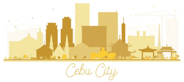 stockillustraties, clipart, cartoons en iconen met cebu city skyline golden silhouet. vectorillustratie. - cebu