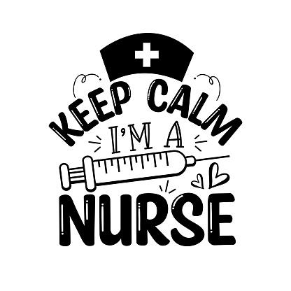 Ceep Calm I'm Nurse - funny text with syringe