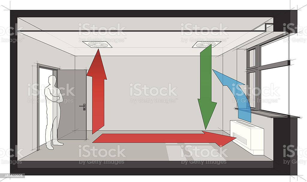ceiling air ventilation and wall fan coil unit diagram vector art illustration