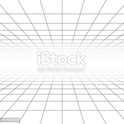 Ceiling And Floor Perspective Grid Vector Lines