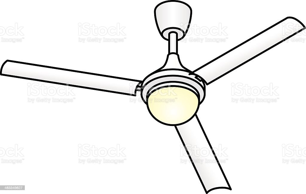 Lovely Ceiling Fan With Light Stock Vector Art & More Images of Air  KC65