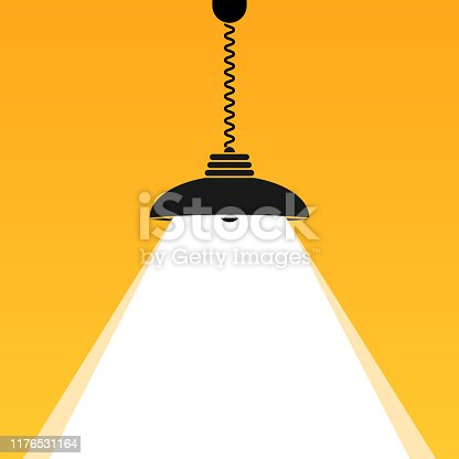 Ceiling lamp light bulb shine. Bright Business background for your text. Vector interior sign.