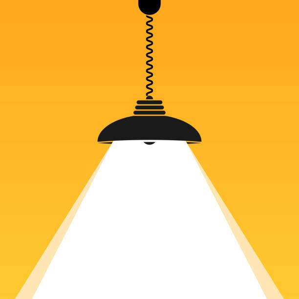 tavan lamba ampul parlaklık. metniniz için parlak i̇şletme arka planı. vektör iç işareti. - elektrik lambası stock illustrations