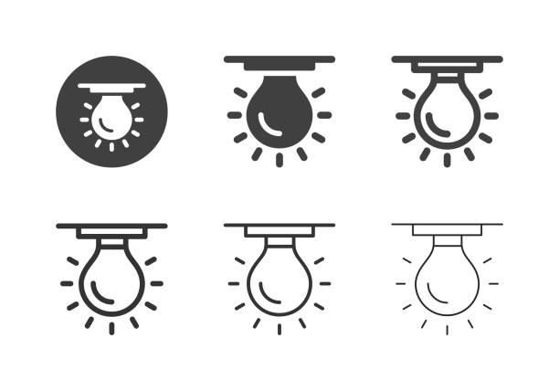 Ceiling Light Bulb Icons - Multi Series vector art illustration