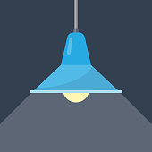 Pendant lamp. Ceiling light in a loft style. Element of interior. vector illustration