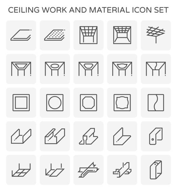 ceiling work icon Ceiling work and material icon set. showroom stock illustrations
