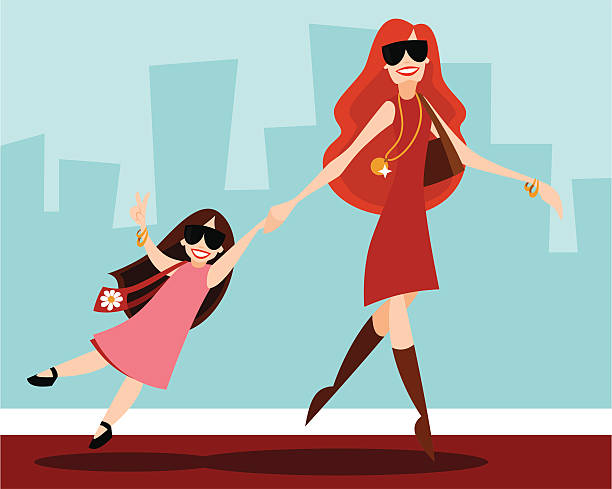 celeb with child - redhead stock illustrations