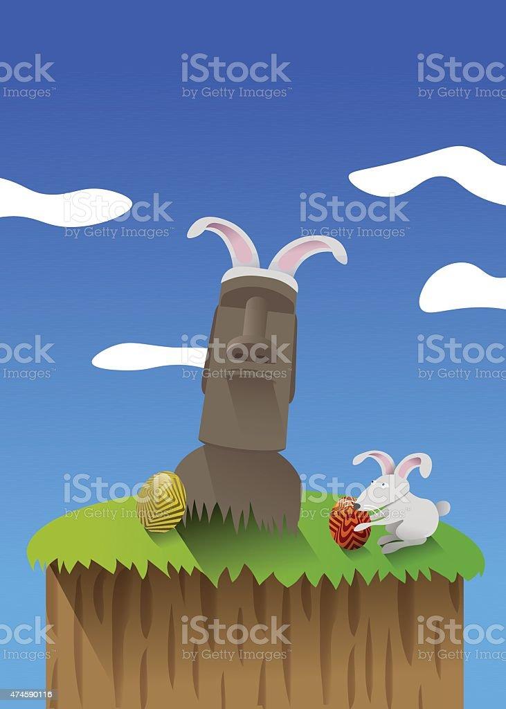 Celebrando la Pascua en la Isla de Pascua vector art illustration