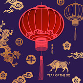 Celebrate the Year of the Ox 2021 with paper craft Chinese lanterns and gold colored ox and pattern on the blue background, the vertical Chinese phrase means Year of the Ox according to lunar calendar