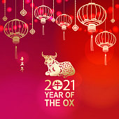Celebrate the Year of the Ox 2021 with lights and gold colored Chinese lanterns and ox on the red background, the Chinese stamp means ox and the vertical Chinese phrase means Year of the Ox according to Chinese calendar