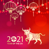 Celebrate the Year of the Ox 2021 with lights and gold colored Chinese lanterns and ox on the red background, the Chinese stamp means ox