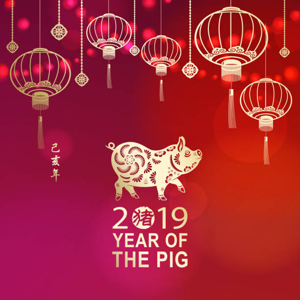 celebrate chinese new year with pig - year of the pig stock illustrations, clip art, cartoons, & icons
