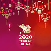 Celebrate the Year of the Rat 2020 with Chinese lanterns, light and gold colored rat on the red background, the Chinese stamp means rat and the vertical Chinese phrase means Year of the Rat according to Chinese calendar