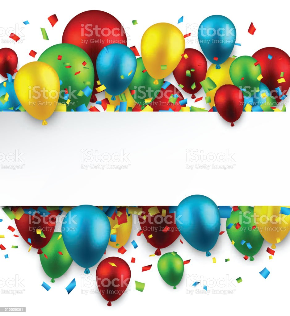 Celebrate colorful background with balloons. vector art illustration