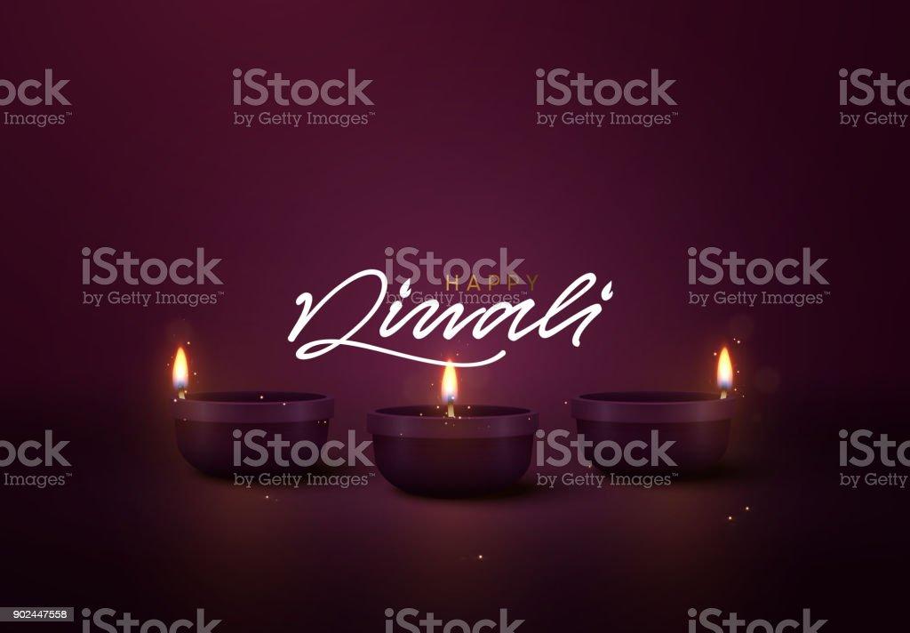Celebrate Diwali festival of lights. Holiday background Hindu Diwali or Deepavali vector art illustration