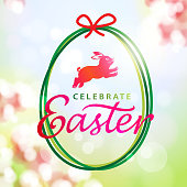 To celebrate Easter with the egg shape decoration, rabbit and text