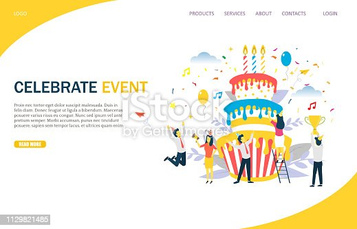 Celebrate event vector website template, web page and landing page design for website and mobile site development. Office party, business corporate anniversary special event startup milestone.