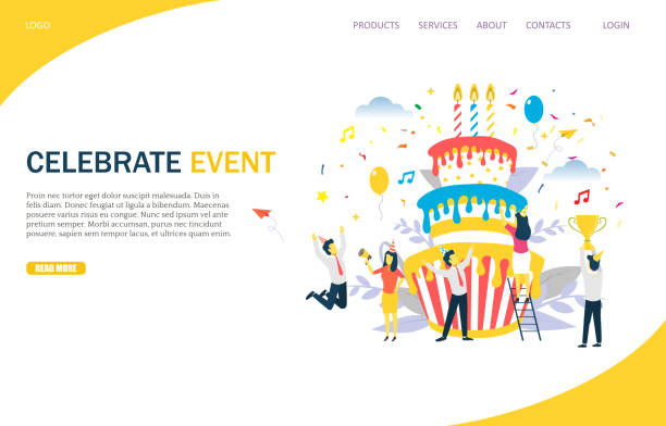 Celebrate event vector website landing page design template Celebrate event vector website template, web page and landing page design for website and mobile site development. Office party, business corporate anniversary special event startup milestone. decorating a cake stock illustrations
