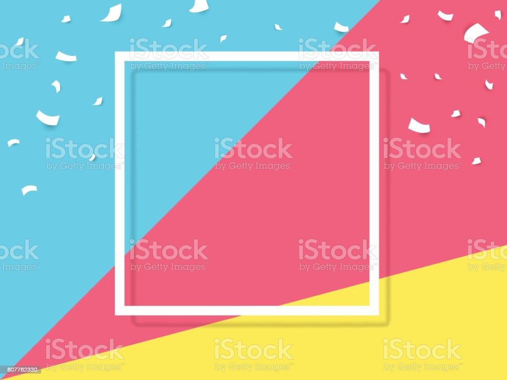 Celebrate festive holiday party design with confetti, and square frame on multicolored background. vector art illustration