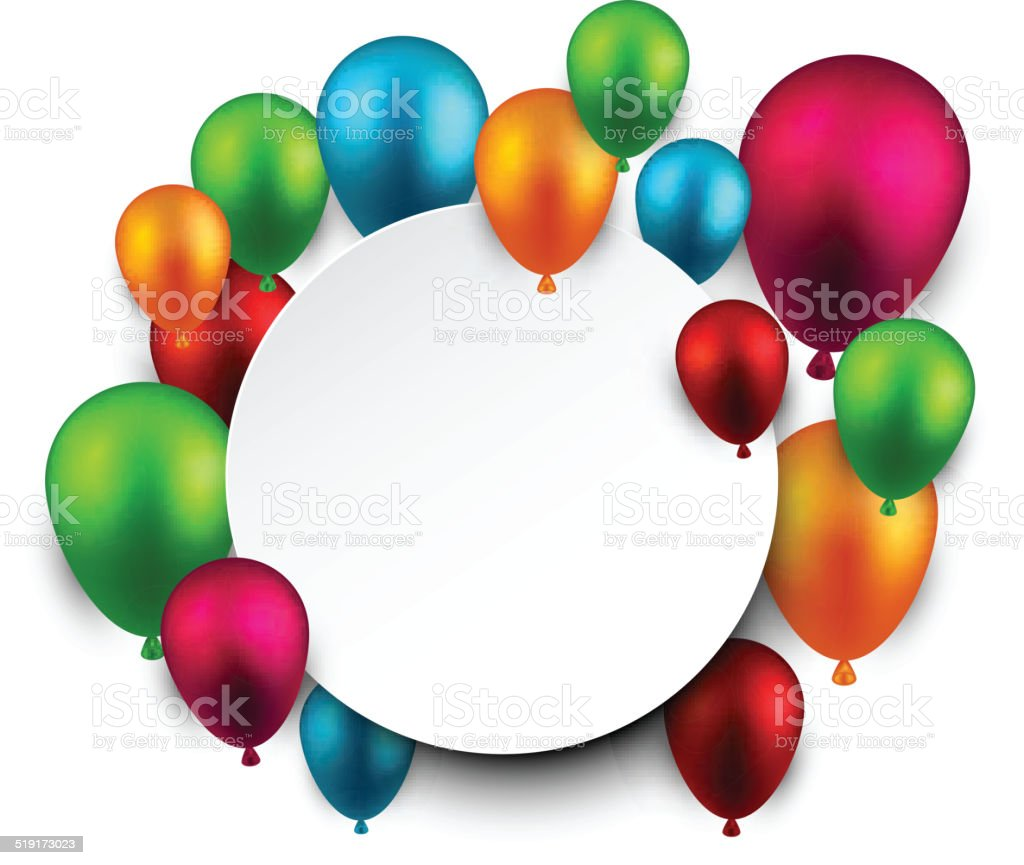 Celebrate frame background with balloons. vector art illustration