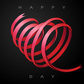 Beautiful red ribbon twisted into a heart. EPS10 vector illustration, global colors, easy to modify.