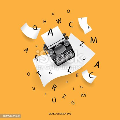 paper and letter design for literacy, alphabet celebration and education concept