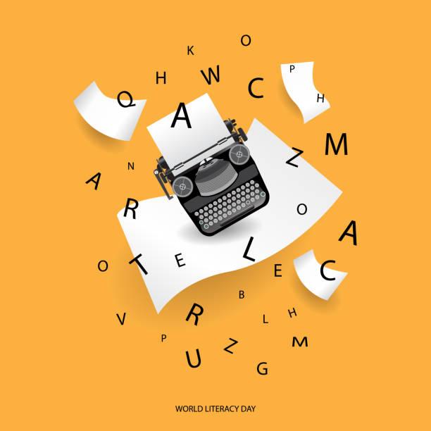 stockillustraties, clipart, cartoons en iconen met vieren van alfabet dag - journalist