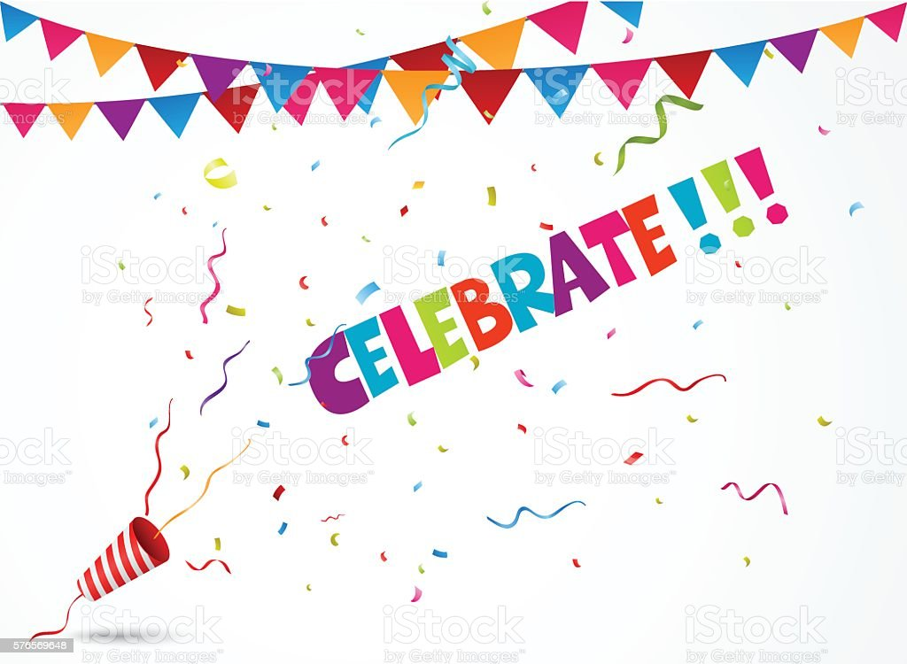Celebrate out of party popper with confetti and bunting flags vector art illustration