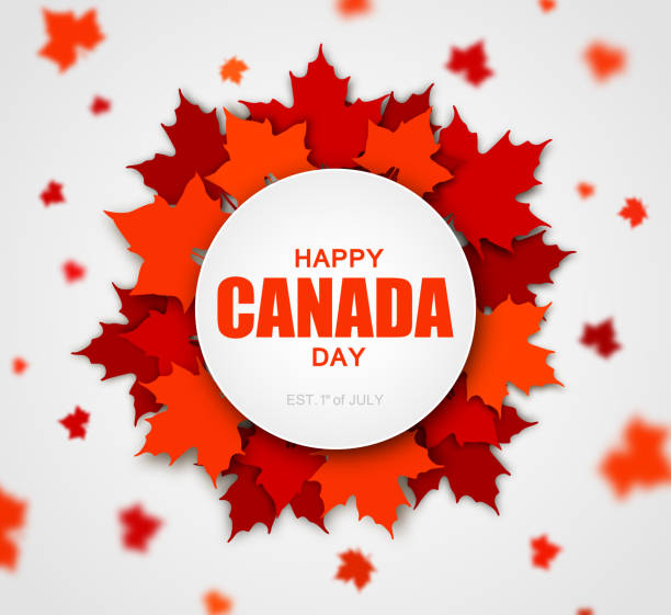 celebrate the national day of canada. red canadian maple leaves with lettering happy canada day. - canada day stock illustrations