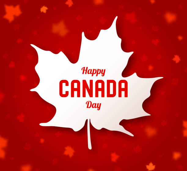 Celebrate the national day of Canada. White canadian maple leaf with lettering Happy Canada day on red background. Greeting card, poster for celebration party, independence day, travel banner canada day illustrations stock illustrations