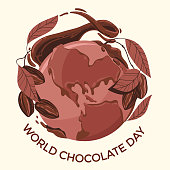 Celebrate world chocolate day with cocoa tree and globe
